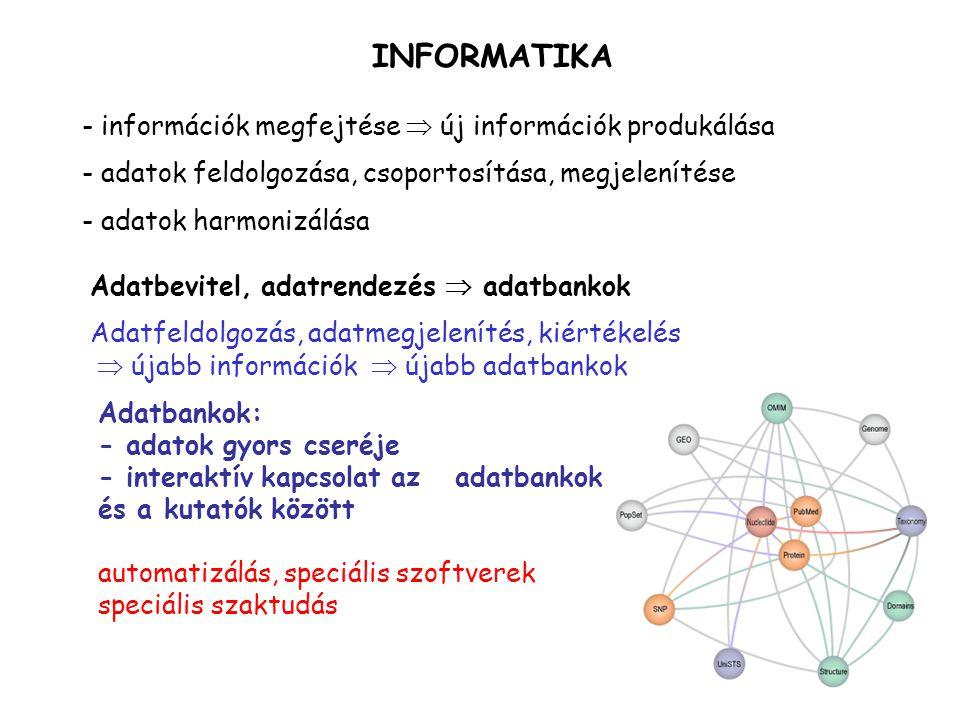 INFORMATIKA - információk megfejtése  új információk produkálása - adatok feldolgozása, csoportosítása, megjelenítése - adatok harmonizálása Adatbevi
