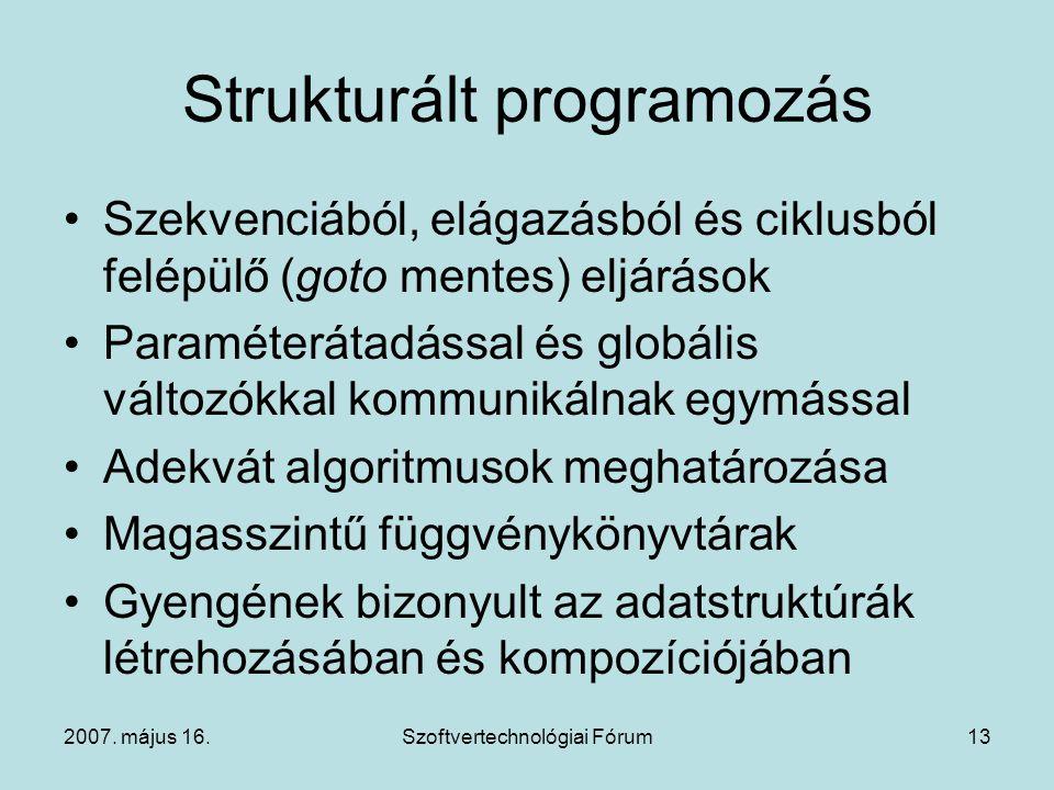 2007. május 16.Szoftvertechnológiai Fórum13 Strukturált programozás Szekvenciából, elágazásból és ciklusból felépülő (goto mentes) eljárások Paraméter