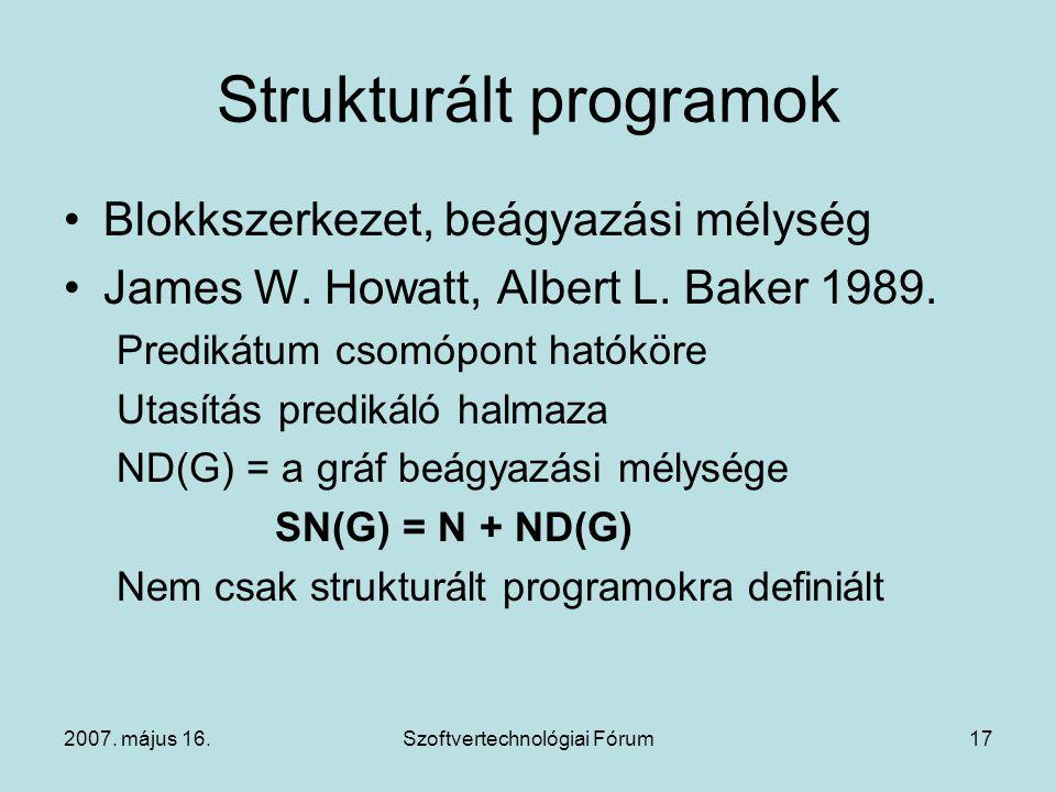 2007. május 16.Szoftvertechnológiai Fórum17 Strukturált programok Blokkszerkezet, beágyazási mélység James W. Howatt, Albert L. Baker 1989. Predikátum