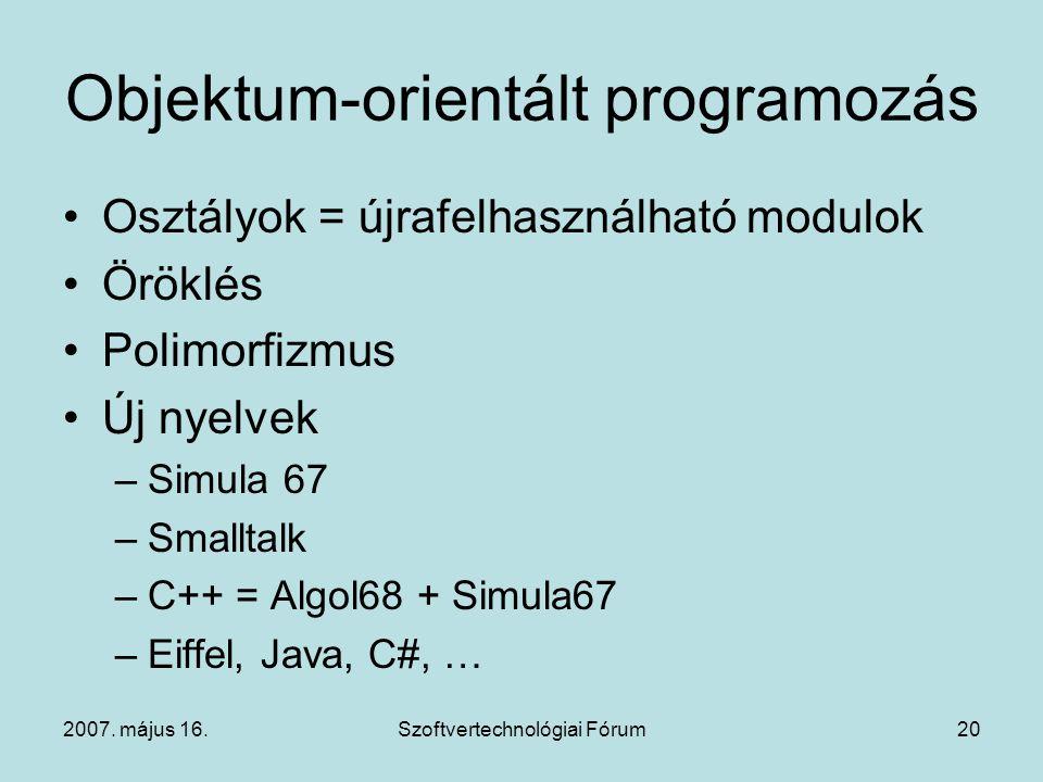 2007. május 16.Szoftvertechnológiai Fórum20 Objektum-orientált programozás Osztályok = újrafelhasználható modulok Öröklés Polimorfizmus Új nyelvek –Si