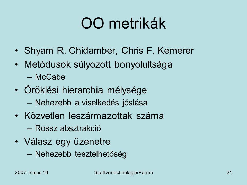 2007. május 16.Szoftvertechnológiai Fórum21 OO metrikák Shyam R. Chidamber, Chris F. Kemerer Metódusok súlyozott bonyolultsága –McCabe Öröklési hierar