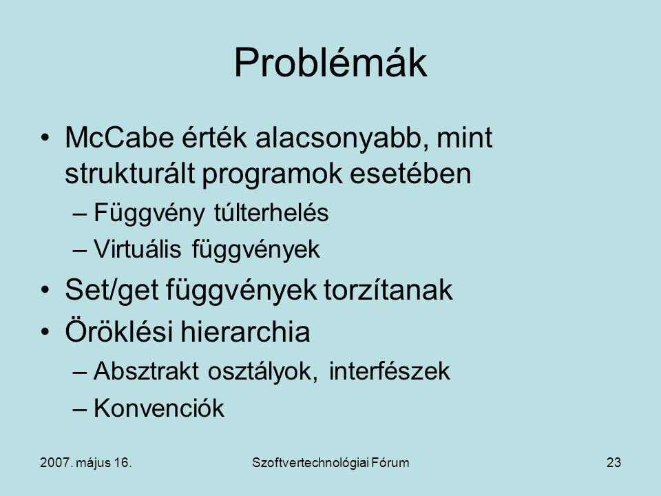 2007. május 16.Szoftvertechnológiai Fórum23 Problémák McCabe érték alacsonyabb, mint strukturált programok esetében –Függvény túlterhelés –Virtuális f