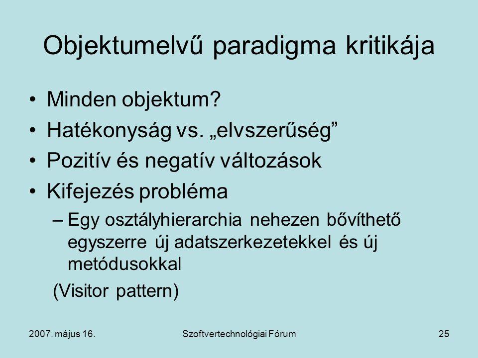 """2007. május 16.Szoftvertechnológiai Fórum25 Objektumelvű paradigma kritikája Minden objektum? Hatékonyság vs. """"elvszerűség"""" Pozitív és negatív változá"""