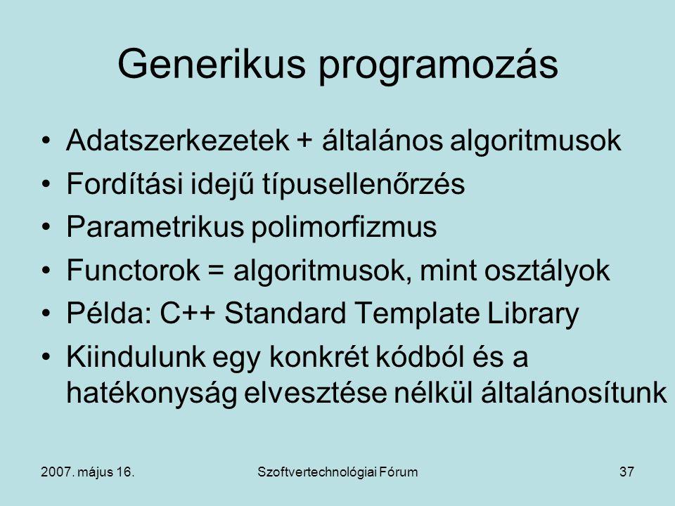 2007. május 16.Szoftvertechnológiai Fórum37 Generikus programozás Adatszerkezetek + általános algoritmusok Fordítási idejű típusellenőrzés Parametriku