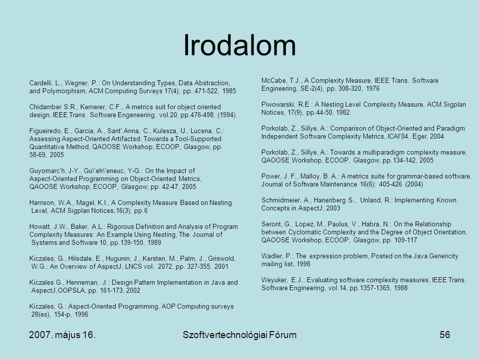 2007. május 16.Szoftvertechnológiai Fórum56 Irodalom Cardelli, L., Wegner, P.: On Understanding Types, Data Abstraction, and Polymorphism, ACM Computi