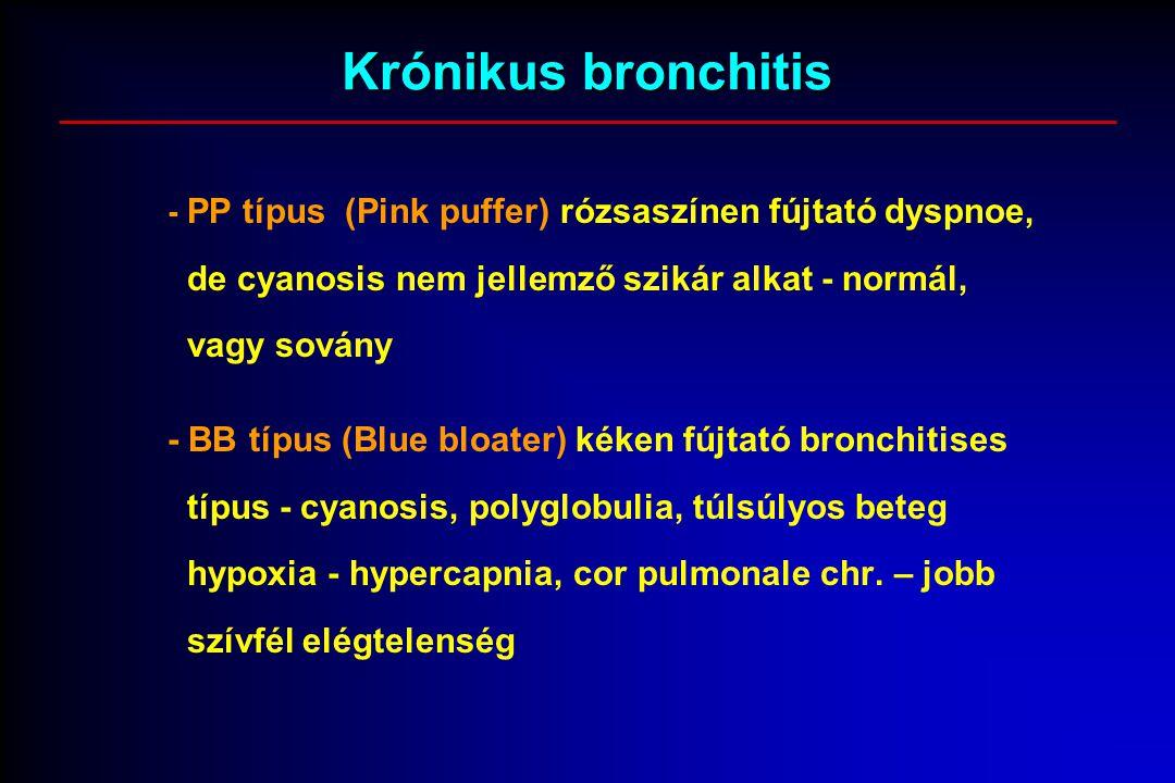 Krónikus bronchitis - PP típus (Pink puffer) rózsaszínen fújtató dyspnoe, de cyanosis nem jellemző szikár alkat - normál, vagy sovány - BB típus (Blue bloater) kéken fújtató bronchitises típus - cyanosis, polyglobulia, túlsúlyos beteg hypoxia - hypercapnia, cor pulmonale chr.