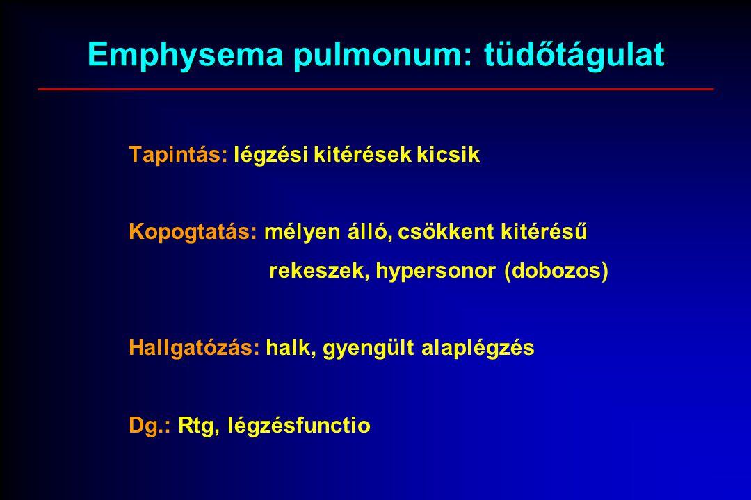 Emphysema pulmonum: tüdőtágulat Tapintás: légzési kitérések kicsik Kopogtatás: mélyen álló, csökkent kitérésű rekeszek, hypersonor (dobozos) Hallgatózás: halk, gyengült alaplégzés Dg.: Rtg, légzésfunctio