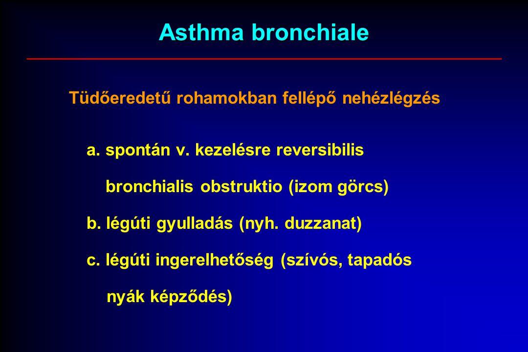 Asthma bronchiale Tüdőeredetű rohamokban fellépő nehézlégzés a. spontán v. kezelésre reversibilis bronchialis obstruktio (izom görcs) b. légúti gyulla