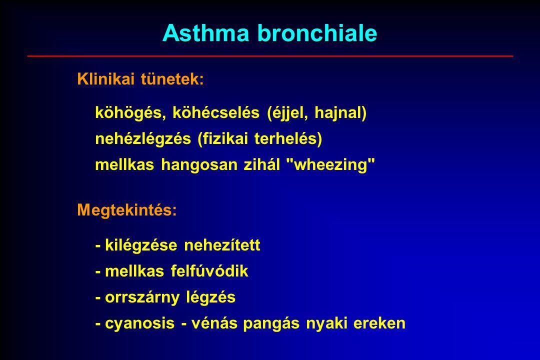 Asthma bronchiale Klinikai tünetek: köhögés, köhécselés (éjjel, hajnal) nehézlégzés (fizikai terhelés) mellkas hangosan zihál wheezing Megtekintés: - kilégzése nehezített - mellkas felfúvódik - orrszárny légzés - cyanosis - vénás pangás nyaki ereken