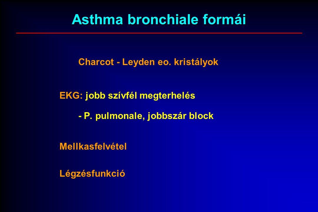 Asthma bronchiale formái Charcot - Leyden eo. kristályok EKG: jobb szívfél megterhelés - P. pulmonale, jobbszár block Mellkasfelvétel Légzésfunkció