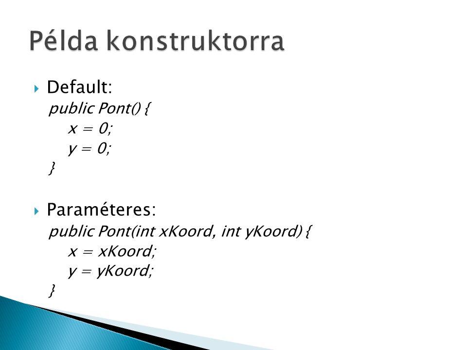  Default: public Pont() { x = 0; y = 0; }  Paraméteres: public Pont(int xKoord, int yKoord) { x = xKoord; y = yKoord; }