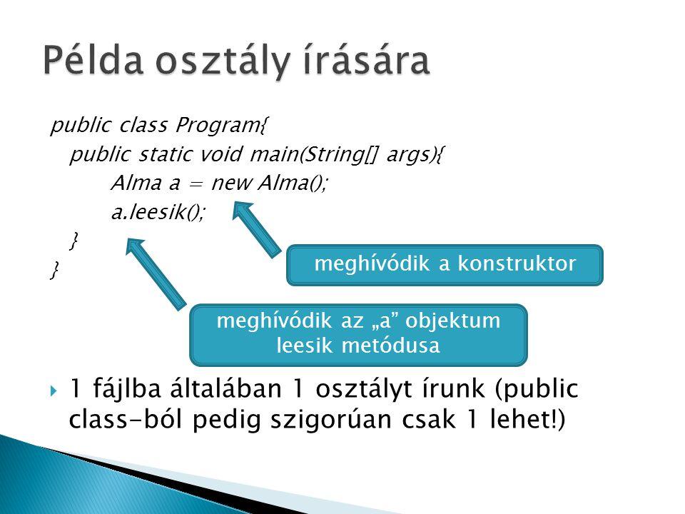 """public class Program{ public static void main(String[] args){ Alma a = new Alma(); a.leesik(); }  1 fájlba általában 1 osztályt írunk (public class-ból pedig szigorúan csak 1 lehet!) meghívódik a konstruktor meghívódik az """"a objektum leesik metódusa"""