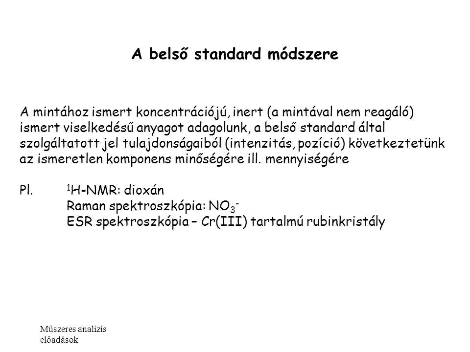 Műszeres analízis előadások A belső standard módszere A mintához ismert koncentrációjú, inert (a mintával nem reagáló) ismert viselkedésű anyagot adag