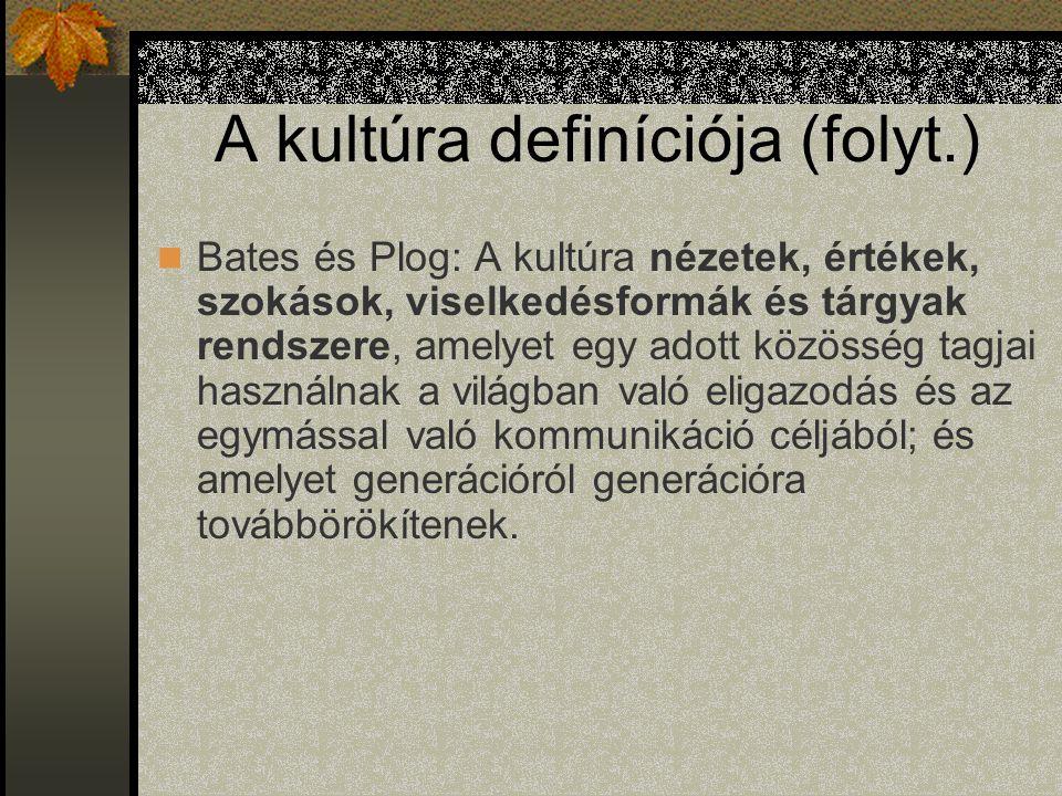 A kultúra definíciója (folyt.) Bates és Plog: A kultúra nézetek, értékek, szokások, viselkedésformák és tárgyak rendszere, amelyet egy adott közösség