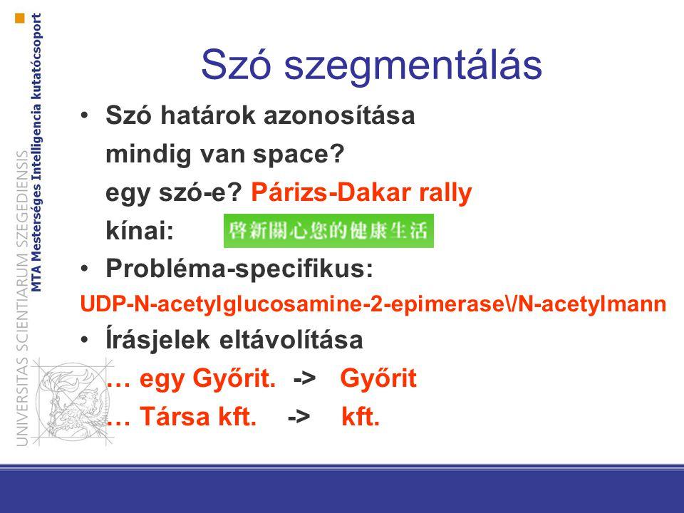 Szó szegmentálás Szó határok azonosítása mindig van space? egy szó-e? Párizs-Dakar rally kínai: Probléma-specifikus: UDP-N-acetylglucosamine-2-epimera