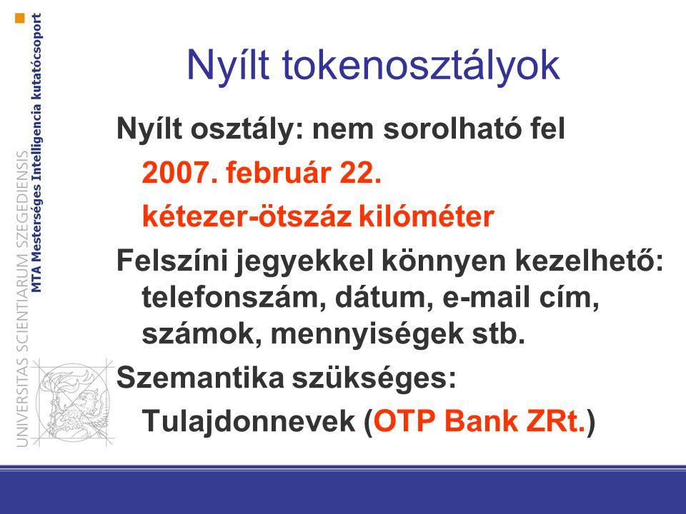 Nyílt tokenosztályok Nyílt osztály: nem sorolható fel 2007. február 22. kétezer-ötszáz kilóméter Felszíni jegyekkel könnyen kezelhető: telefonszám, dá