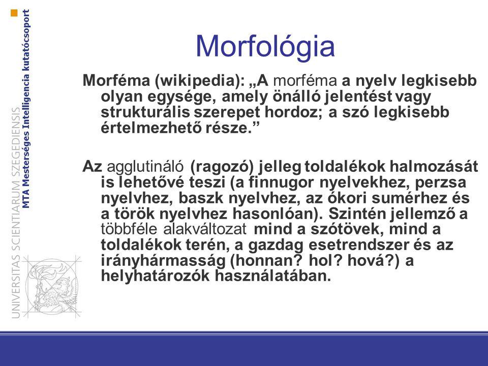 """Morfológia Morféma (wikipedia): """"A morféma a nyelv legkisebb olyan egysége, amely önálló jelentést vagy strukturális szerepet hordoz; a szó legkisebb"""