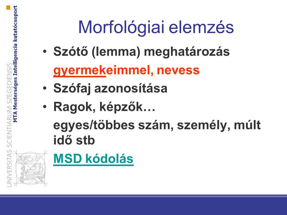 Morfológiai elemzés Szótő (lemma) meghatározás gyermekeimmel, nevess Szófaj azonosítása Ragok, képzők… egyes/többes szám, személy, múlt idő stb MSD kó