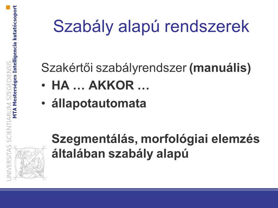 Szabály alapú rendszerek Szakértői szabályrendszer (manuális) HA … AKKOR … állapotautomata Szegmentálás, morfológiai elemzés általában szabály alapú