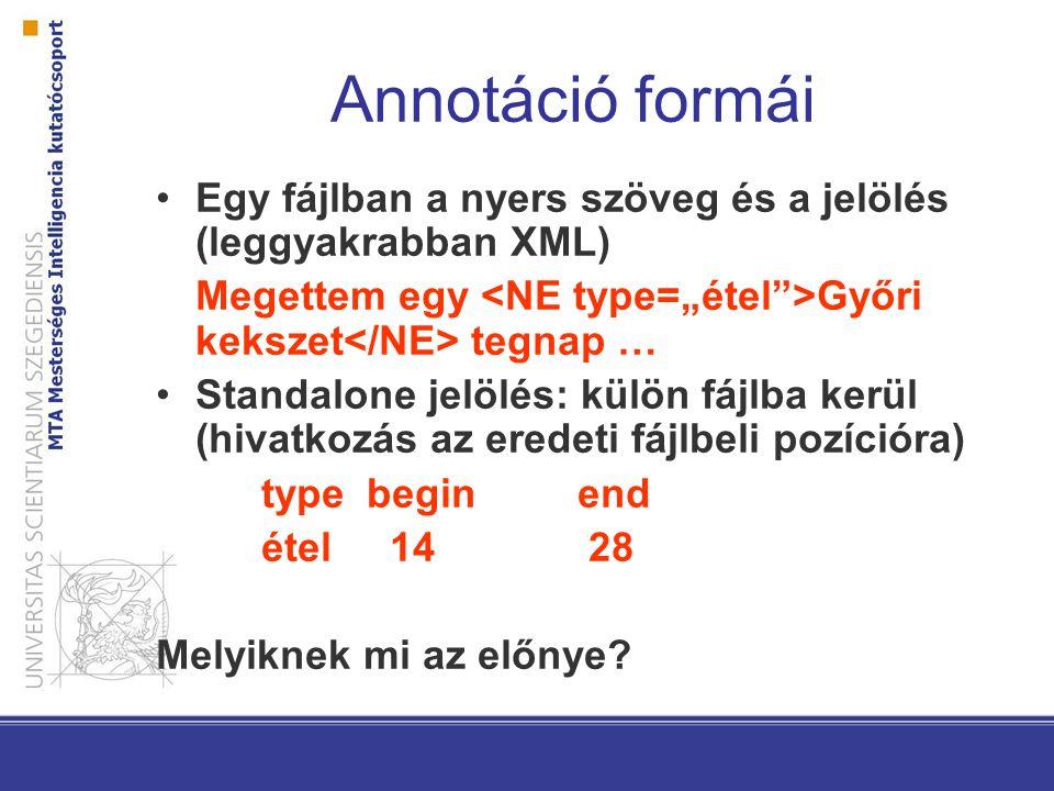 Annotáció formái Egy fájlban a nyers szöveg és a jelölés (leggyakrabban XML) Megettem egy Győri kekszet tegnap … Standalone jelölés: külön fájlba kerü