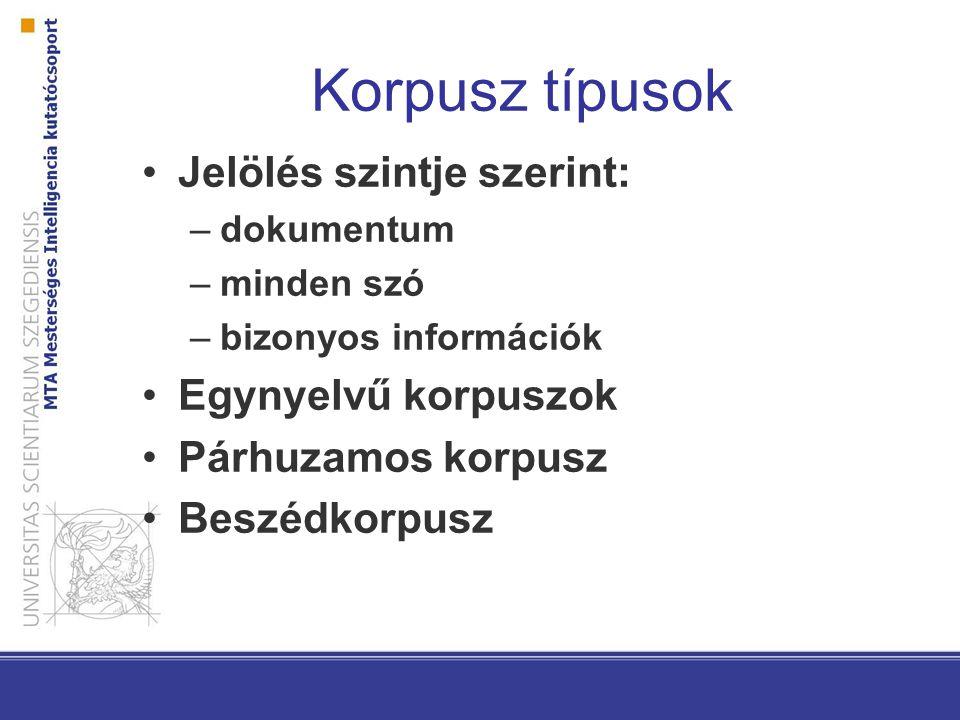 Korpusz típusok Jelölés szintje szerint: –dokumentum –minden szó –bizonyos információk Egynyelvű korpuszok Párhuzamos korpusz Beszédkorpusz
