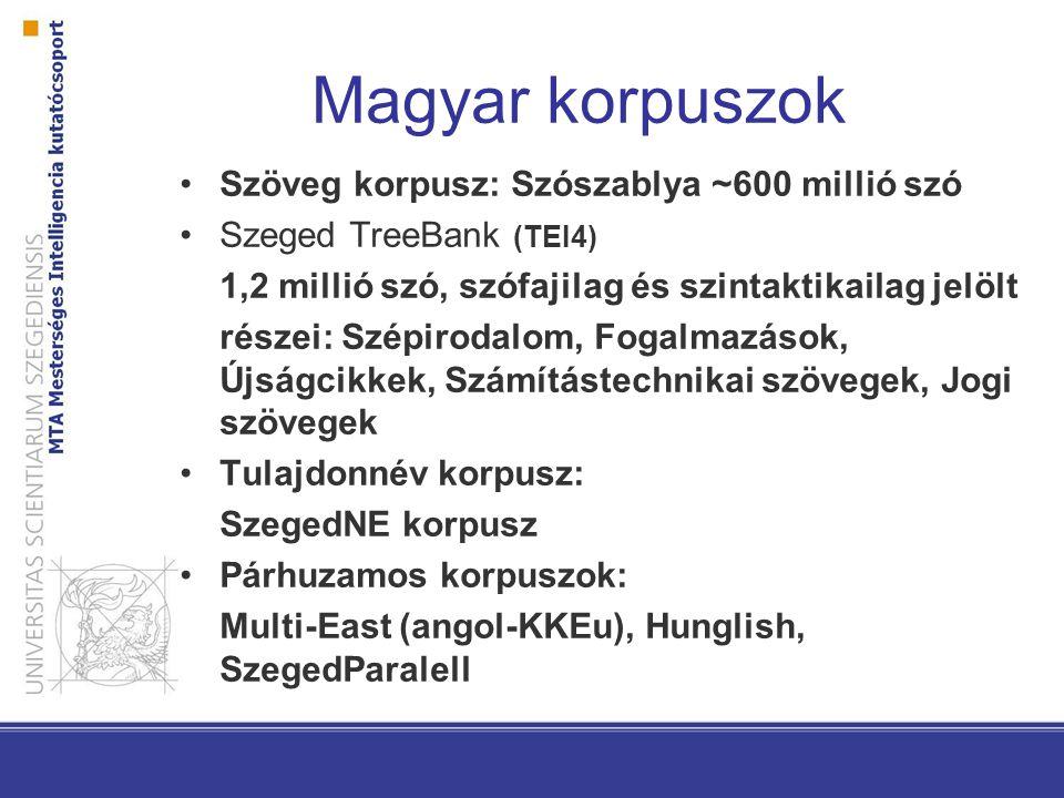 Magyar korpuszok Szöveg korpusz: Szószablya ~600 millió szó Szeged TreeBank (TEI4) 1,2 millió szó, szófajilag és szintaktikailag jelölt részei: Szépir
