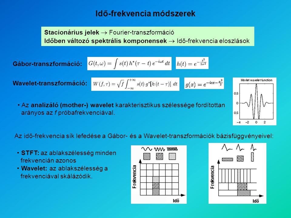 Stacionárius jelek  Fourier-transzformáció Időben változó spektrális komponensek  Idő-frekvencia eloszlások Gábor-transzformáció: Wavelet-transzformáció: Idő-frekvencia módszerek Az analizáló (mother-) wavelet karakterisztikus szélessége fordítottan arányos az f próbafrekvenciával.