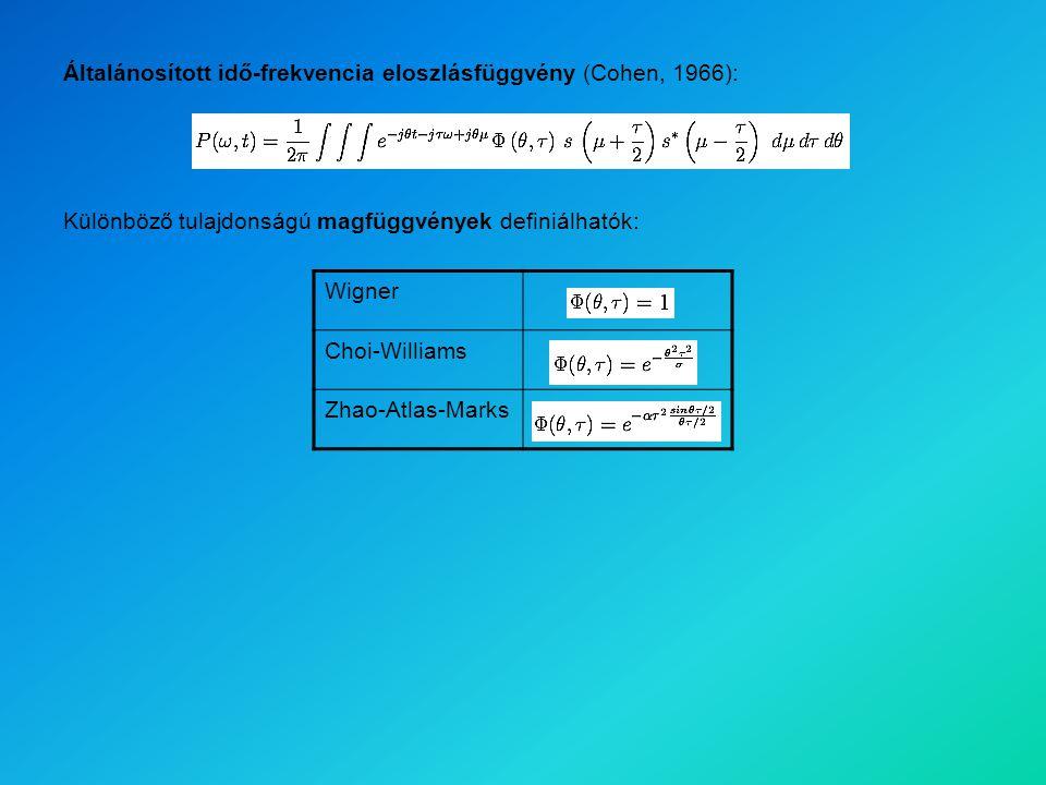 Általánosított idő-frekvencia eloszlásfüggvény (Cohen, 1966): Wigner Choi-Williams Zhao-Atlas-Marks Különböző tulajdonságú magfüggvények definiálhatók: