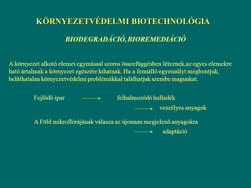 KÖRNYEZETVÉDELMI BIOTECHNOLÓGIA BIODEGRADÁCIÓ, BIOREMEDIÁCIÓ A környezet alkotó elemei egymással szoros összefüggésben léteznek,az egyes elemekre ható