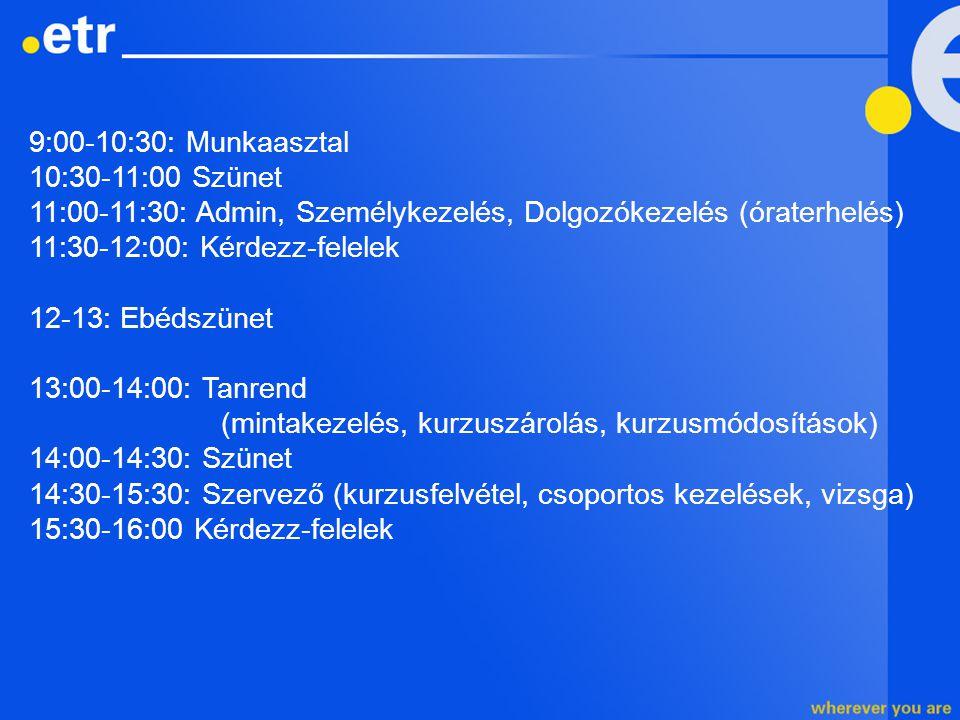 9:00-10:30: Munkaasztal 10:30-11:00 Szünet 11:00-11:30: Admin, Személykezelés, Dolgozókezelés (óraterhelés) 11:30-12:00: Kérdezz-felelek 12-13: Ebédsz