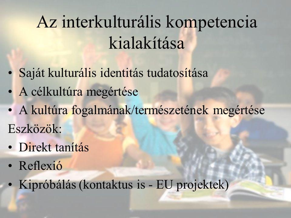 Az interkulturális kompetencia kialakítása Saját kulturális identitás tudatosítása A célkultúra megértése A kultúra fogalmának/természetének megértése
