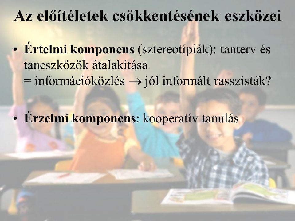 Az előítéletek csökkentésének eszközei Értelmi komponens (sztereotípiák): tanterv és taneszközök átalakítása = információközlés  jól informált rasszi