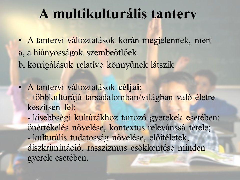 A multikulturális tanterv A tantervi változtatások korán megjelennek, mert a, a hiányosságok szembeötlőek b, korrigálásuk relatíve könnyűnek látszik A