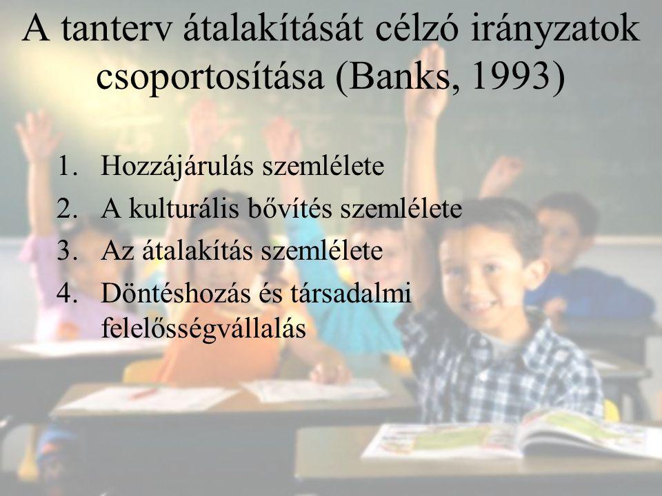 A tanterv átalakítását célzó irányzatok csoportosítása (Banks, 1993) 1.Hozzájárulás szemlélete 2.A kulturális bővítés szemlélete 3.Az átalakítás szeml