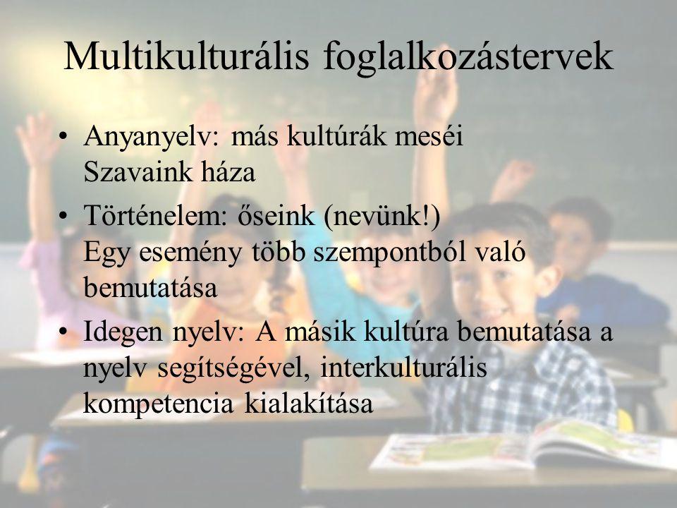 Multikulturális foglalkozástervek Anyanyelv: más kultúrák meséi Szavaink háza Történelem: őseink (nevünk!) Egy esemény több szempontból való bemutatás