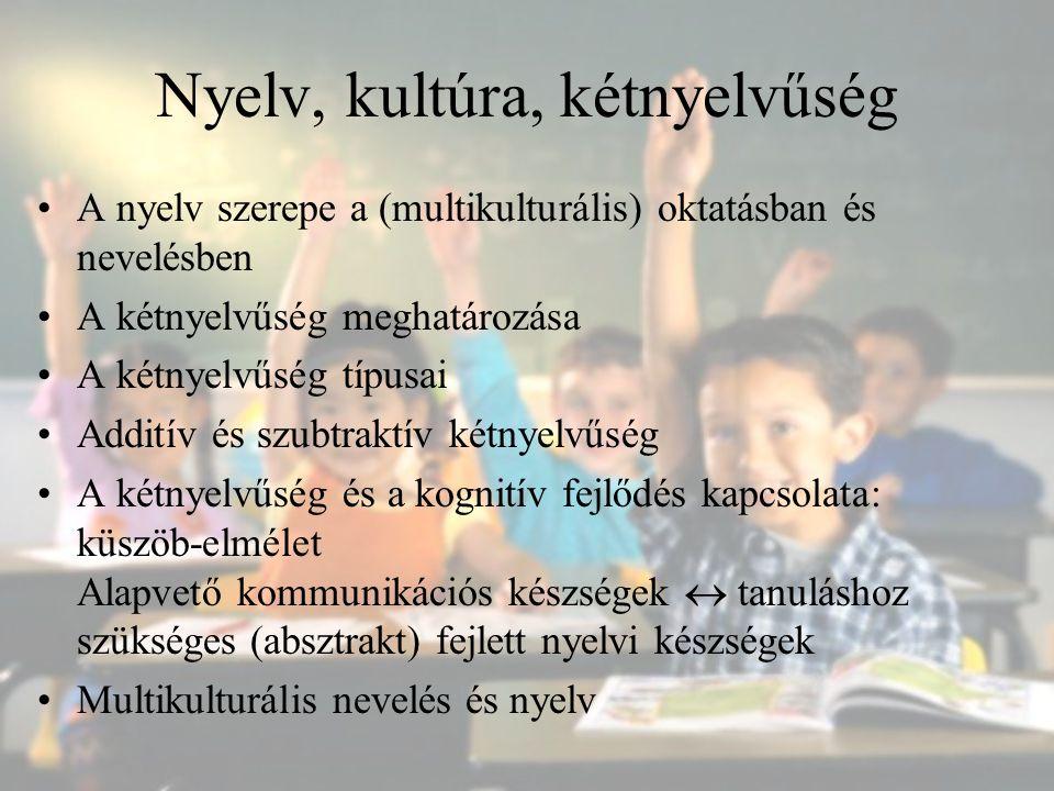 Nyelv, kultúra, kétnyelvűség A nyelv szerepe a (multikulturális) oktatásban és nevelésben A kétnyelvűség meghatározása A kétnyelvűség típusai Additív