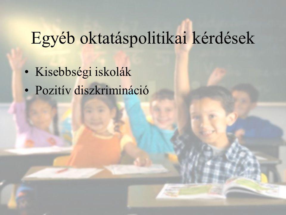 Egyéb oktatáspolitikai kérdések Kisebbségi iskolák Pozitív diszkrimináció