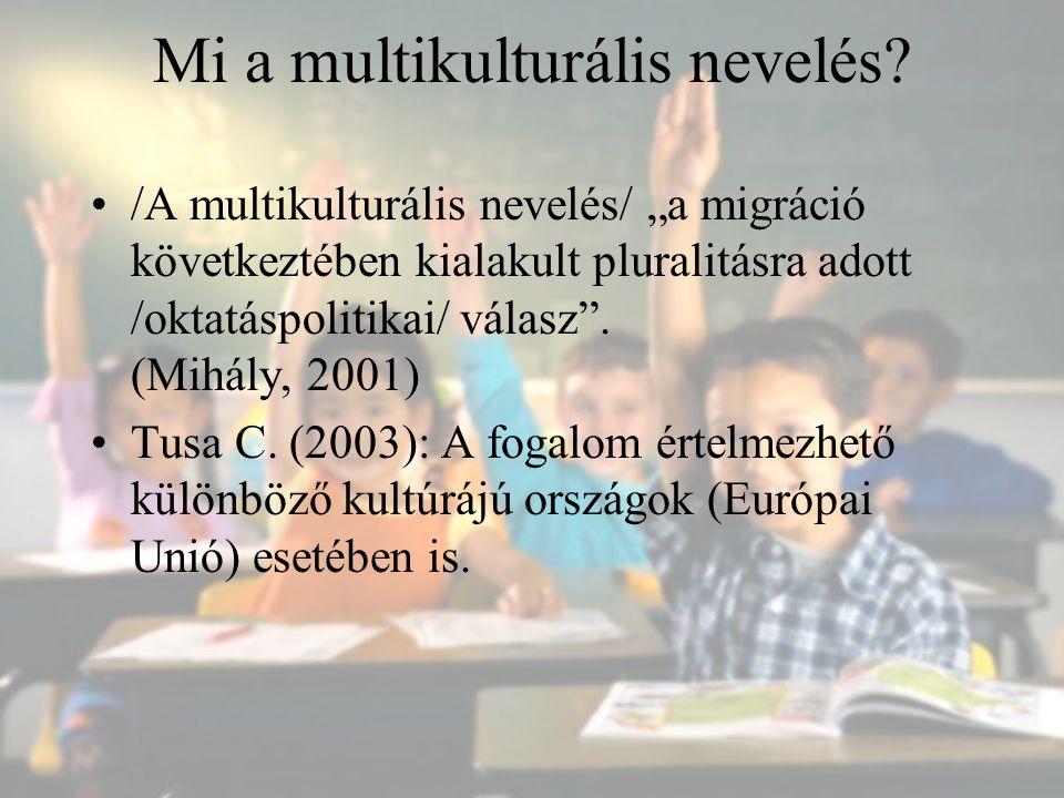 """Mi a multikulturális nevelés? /A multikulturális nevelés/ """"a migráció következtében kialakult pluralitásra adott /oktatáspolitikai/ válasz"""". (Mihály,"""