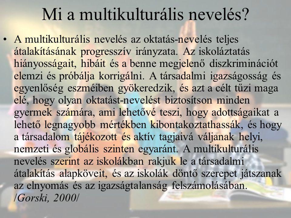 A multikulturális tanterv A tantervi változtatások korán megjelennek, mert a, a hiányosságok szembeötlőek b, korrigálásuk relatíve könnyűnek látszik A tantervi változtatások céljai: - többkultúrájú társadalomban/világban való életre készítsen fel; - kisebbségi kultúrákhoz tartozó gyerekek esetében: önértékelés növelése, kontextus relevánssá tétele; - kulturális tudatosság növelése, előítéletek, diszkrimináció, rasszizmus csökkentése minden gyerek esetében.