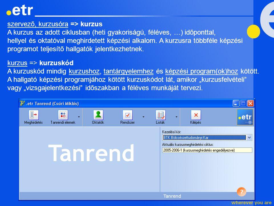 TARTALOM -Terminológiaváltozás -Kurzusmeghirdetési ciklus -Mintaegységek (speciális funkciók) -Megfeleltetések -Kurzuskódok (speciális funkciók) -Oktatók tanrendi adatai (speciális funkciók) -(Kurzusmeghirdetés)
