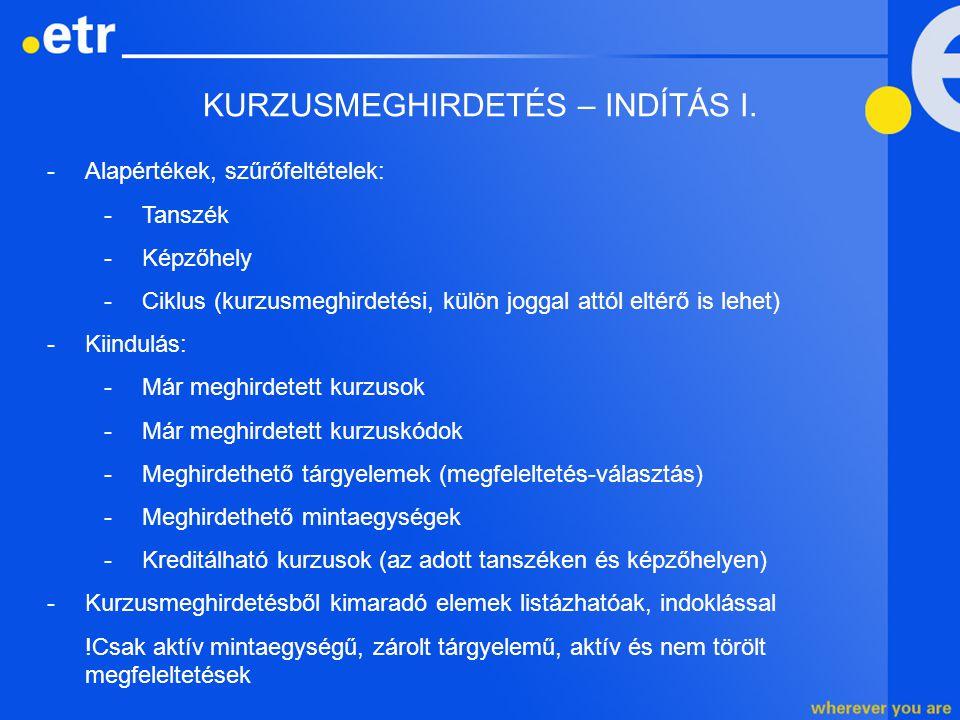 KURZUSMEGHIRDETÉS – INDÍTÁS I. -Alapértékek, szűrőfeltételek: -Tanszék -Képzőhely -Ciklus (kurzusmeghirdetési, külön joggal attól eltérő is lehet) -Ki