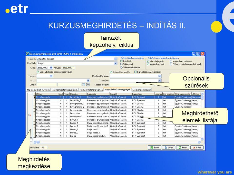 KURZUSMEGHIRDETÉS – INDÍTÁS II. Tanszék, képzőhely, ciklus Meghirdethető elemek listája Opcionális szűrések Meghirdetés megkezdése
