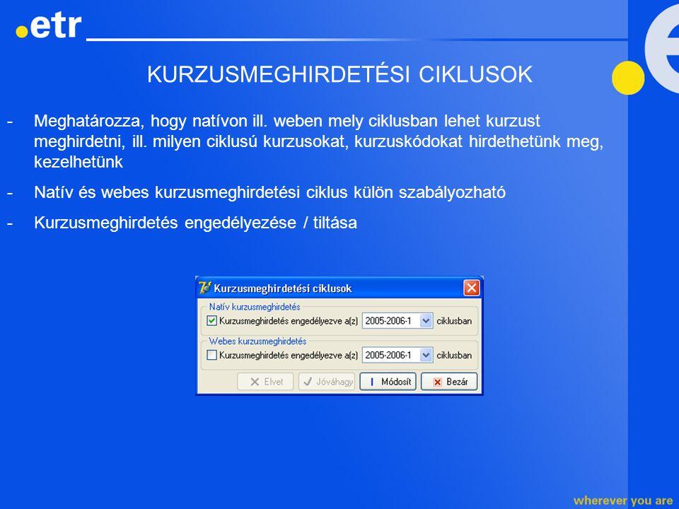 KURZUSMEGHIRDETÉSI CIKLUSOK -Meghatározza, hogy natívon ill. weben mely ciklusban lehet kurzust meghirdetni, ill. milyen ciklusú kurzusokat, kurzuskód