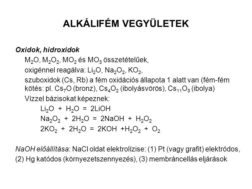 ALKÁLIFÉM VEGYÜLETEK Oxidok, hidroxidok M 2 O, M 2 O 2, MO 2 és MO 3 összetételűek, oxigénnel reagálva: Li 2 O, Na 2 O 2, KO 2, szuboxidok (Cs, Rb) a