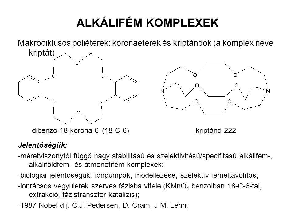ALKÁLIFÉM KOMPLEXEK Makrociklusos poliéterek: koronaéterek és kriptándok (a komplex neve kriptát) Jelentőségük: -méretviszonytól függő nagy stabilitás