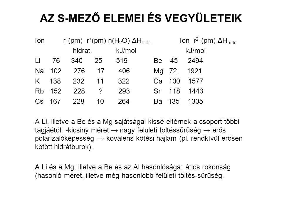AZ ALKÁLIFÉMEK JELLEMZÉSE Elemr(atom) I1 I2 Op,°C Fp,°C ε, (V) EN (pm) (kJ/mol) Li 152 520 7296 181 1347 -3,02 1,0 Na 186 496 4563 88 881 -2,71 0,9 K 227 419 3069 64 766 -2,92 0,8 Rb 248 403 2640 39 688 -2,99 0,8 Cs 265 376 2260 29 705 -3,02 0,7 Fr 375 0,7 H >30 1310 -259 -253 0,0 2,1 Cl 99 1255 -101 -35 +1,36 3,0 A fizikai és a kémiai tulajdonságok a csoportban lefelé túlnyomórészt monoton változnak.