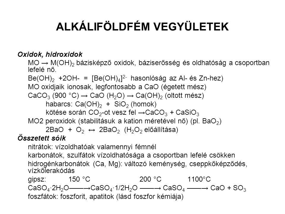 ALKÁLIFÖLDFÉM VEGYÜLETEK Oxidok, hidroxidok MO → M(OH) 2 bázisképző oxidok, báziserősség és oldhatóság a csoportban lefelé nő. Be(OH) 2 +2OH- = [Be(OH