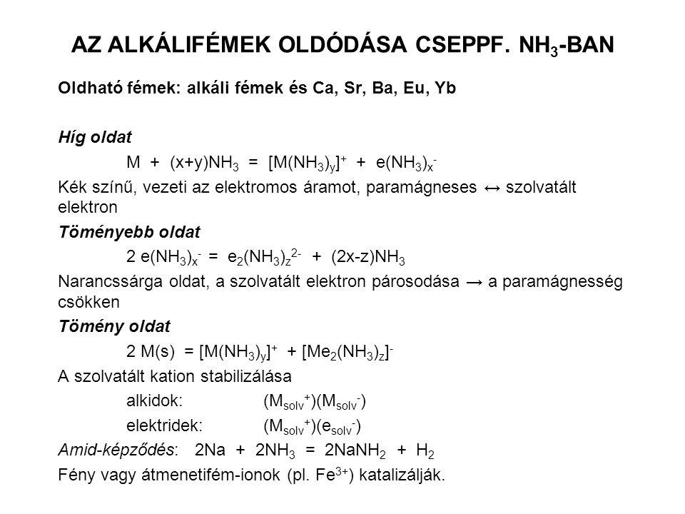 AZ ALKÁLIFÉMEK OLDÓDÁSA CSEPPF. NH 3 -BAN Oldható fémek: alkáli fémek és Ca, Sr, Ba, Eu, Yb Híg oldat M + (x+y)NH 3 = [M(NH 3 ) y ] + + e(NH 3 ) x - K
