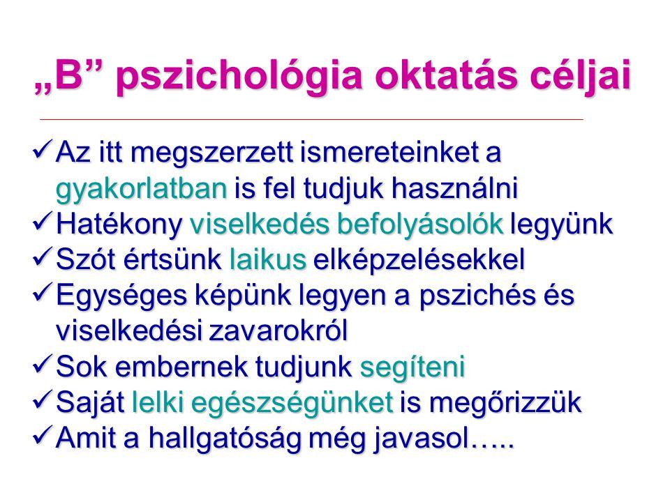 """""""B pszichológia oktatás céljai Az itt megszerzett ismereteinket a gyakorlatban is fel tudjuk használni Az itt megszerzett ismereteinket a gyakorlatban is fel tudjuk használni Hatékony viselkedés befolyásolók legyünk Hatékony viselkedés befolyásolók legyünk Szót értsünk laikus elképzelésekkel Szót értsünk laikus elképzelésekkel Egységes képünk legyen a pszichés és viselkedési zavarokról Egységes képünk legyen a pszichés és viselkedési zavarokról Sok embernek tudjunk segíteni Sok embernek tudjunk segíteni Saját lelki egészségünket is megőrizzük Saját lelki egészségünket is megőrizzük Amit a hallgatóság még javasol….."""