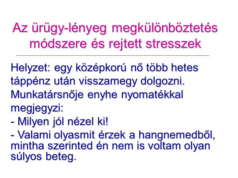 Az ürügy-lényeg megkülönböztetés módszere és rejtett stresszek Helyzet: egy középkorú nő több hetes táppénz után visszamegy dolgozni.